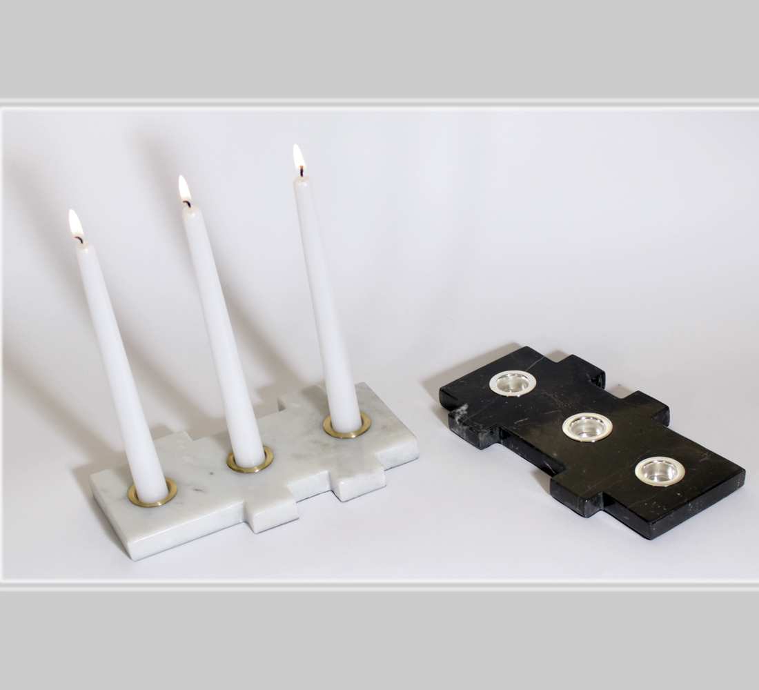 The rectangle candlesticks marble